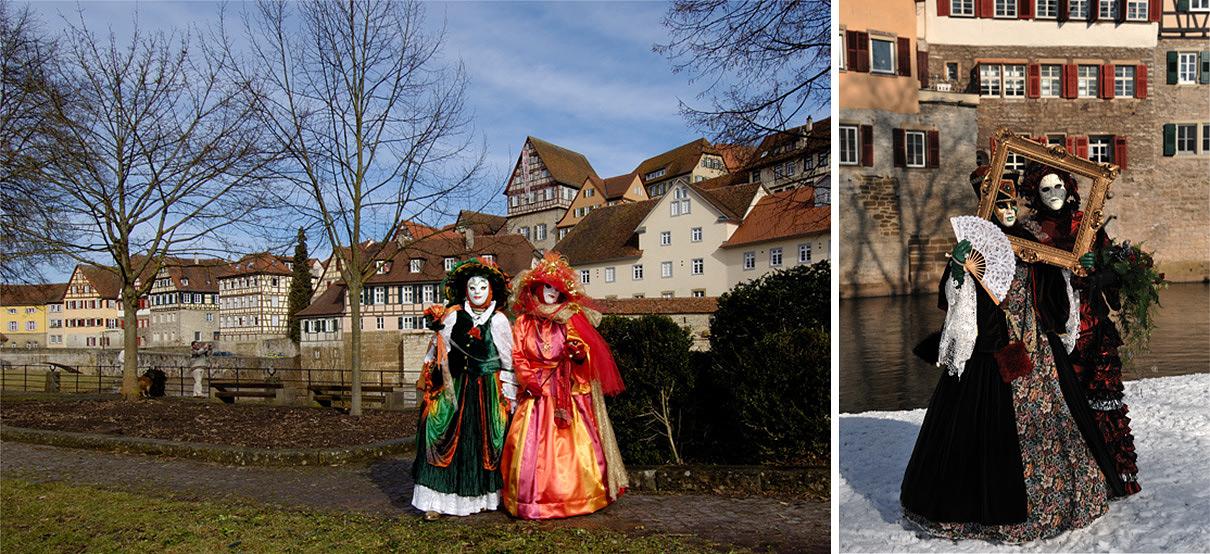 Collage aus 2 Bildern mit Masken venezianischer Art